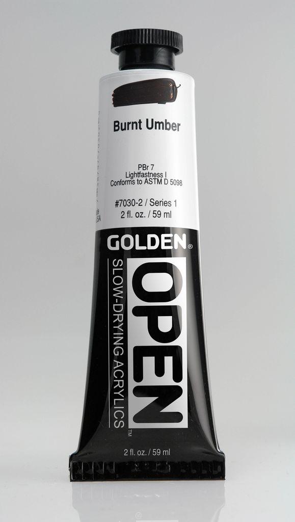 Golden OPEN, Acrylic Paint, Burnt Umber, Series 1, Tube (2fl.oz.)