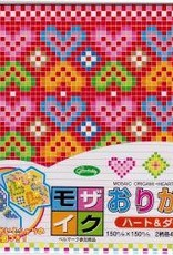 """Japan Origami, 6"""" x 6"""", Mosaic (Hearts & Diamonds), 2 Different Patterns in 4 Different Colors, 24 Total Sheets"""