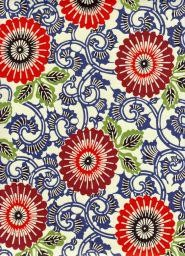 "Japan Yuzen 7210, 19"" x 25"", Large Floral-Orange & Burgundy with Blue Vines"