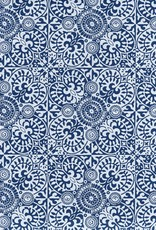 "India Indian Ornate Mosaic Pattern Blue and White, 22"" x 30"""