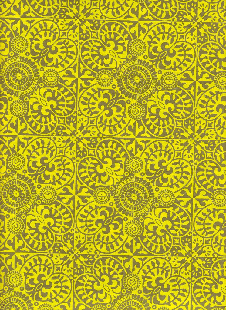 "India Indian Ornate Pattern Moss and Yellow, 22"" x 30"""