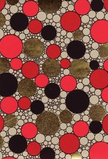 "India Indian Circle Pattern, Red, Gold, Black on Natural, 22"" x 30"""