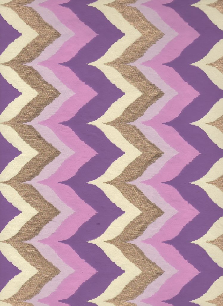 "India Wavy Chevron with Purple, Pink and Gold, 22"" x 30"""