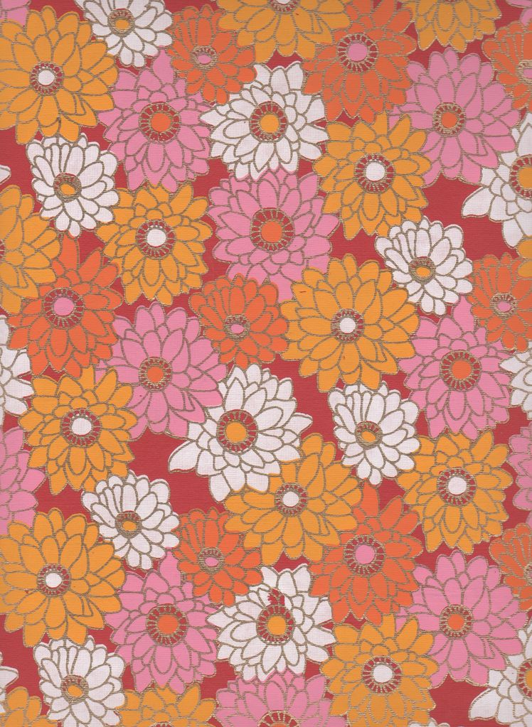 """India Zinnia Garden with Gold on Crimson 22"""" x 30"""" Limited Available"""