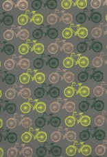 """India Bicycles Yellow, Green, Gold on Grey, 22"""" x 30"""""""