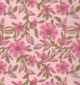 """India Wild Flowers Pink, Green on Pink, 22"""" x 30"""""""