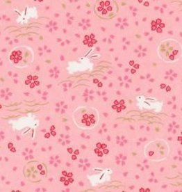 "Japan Yuzen 6282, Bunnies on Pink, 19"" x 25"""
