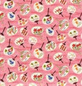 "Japan Yuzen 7546, Uchiwa on Pink, 19"" x 25"""