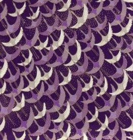"Japan Yuzen 1037, 19"" x 25"", Purple Cranes"