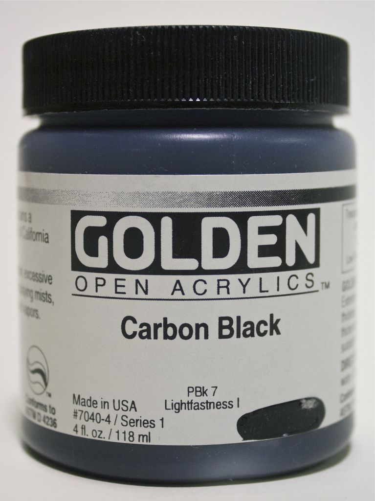 Golden OPEN, Acrylic Paint, Carbon Black, Series 1, Jar (4fl.oz.)