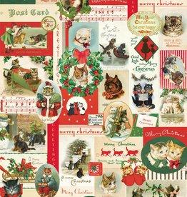 "Italy Cavallini Print, Christmas Cats, 20"" x 28"""