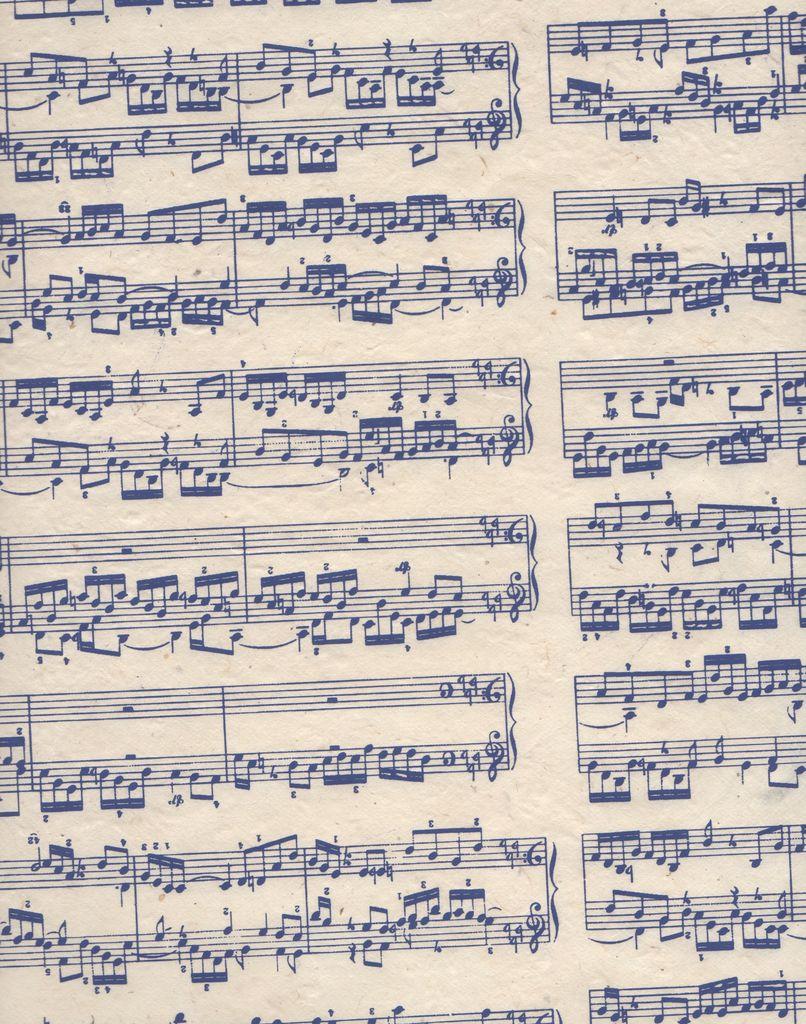 "Nepal Lokta Sheet Music, Blue on Natural, 20"" x 30"""