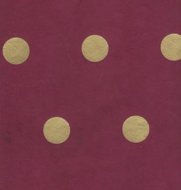 "Nepal Lokta Polka Dot Burgundy with Gold Dots, 20"" x 30"""