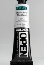 Golden OPEN, Acrylic Paint, Phthalo Green (Blue Shade), Series 4, Tube (2fl.oz.)