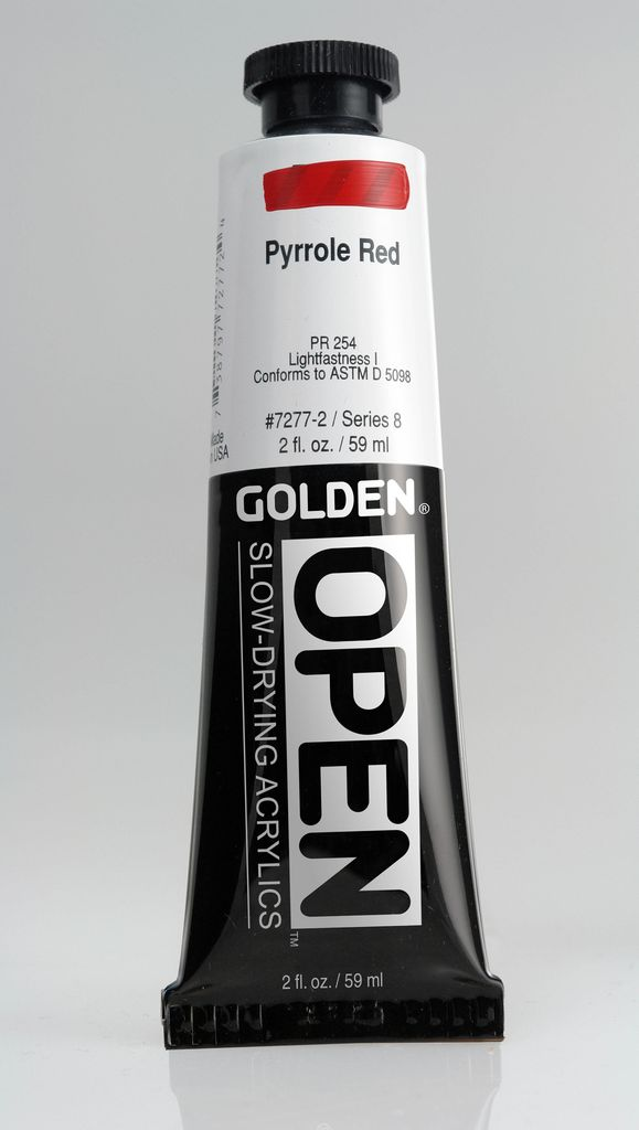 Golden OPEN, Acrylic Paint, Pyrrole Red, Series 8, Tube (2fl.oz.)