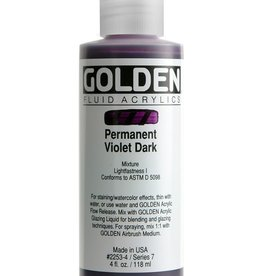 Golden Fluid Acrylic Paint, Permanent Violet Dark, Series 7, 4fl.oz, Bottle