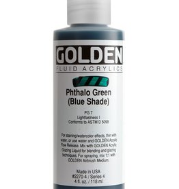 Golden Fluid Acrylic Paint, Phthalo Green (Blue Shade), Series 4, 4fl.oz, Bottle