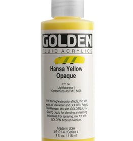 Golden Fluid Acrylic Paint, Hansa Yellow Opaque, Series 4, 4fl.oz, Bottle
