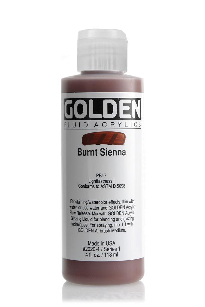 Golden Fluid Acrylic Paint, Burnt Sienna, Series 1, 4fl.oz, Bottle