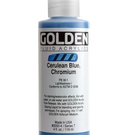 Golden Fluid Acrylic Paint, Cerulean Blue Deep, Series 9, 4fl.oz, Bottle