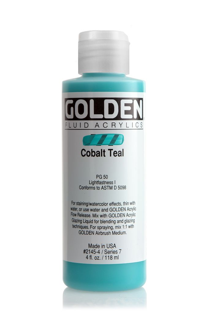 Golden Fluid Acrylic Paint, Cobalt Teal, Series 7, 4fl.oz, Bottle
