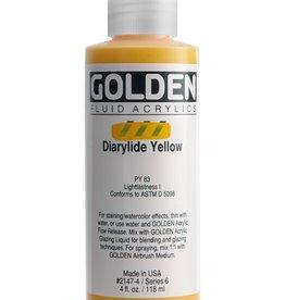 Golden Fluid Acrylic Paint, Diarylide Yellow, Series 6, 4fl.oz, Bottle