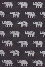 """Nepal Lokta Elephants on Black, 20"""" x 30"""""""