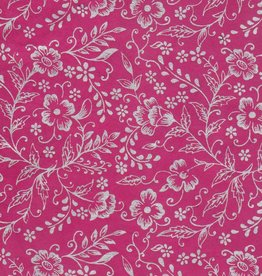 "Nepal Lokta Silver Flowers on Pink, 20"" x 30"" Limited Availability"