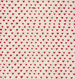 "Nepal Lokta Sweetheart, White with Red, 20"" x 30"""