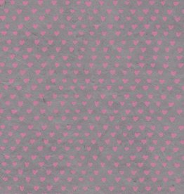 "Nepal Lokta Sweetheart, Grey with Pink, 20"" x 30"""