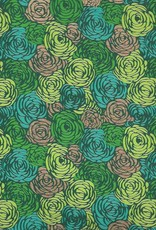 "India Green Roses on Green with Teal, Lime and Gold, 22"" x 30"""