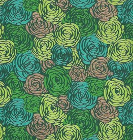 """India Green Roses on Green with Teal, Lime and Gold, 22"""" x 30"""""""