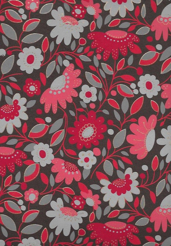 "India Sleeping Beauty Flower Garden, Red on Brown, 22"" x 30"""