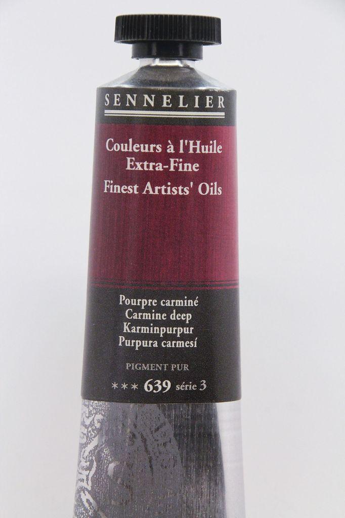 France Sennelier, Fine Artists' Oil Paint, Carmine Deep, 639, 40ml Tube, Series 3