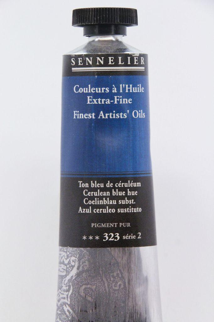France Sennelier, Fine Artists' Oil Paint, Cerulean Blue Hue, 323, 40ml Tube, Series 2