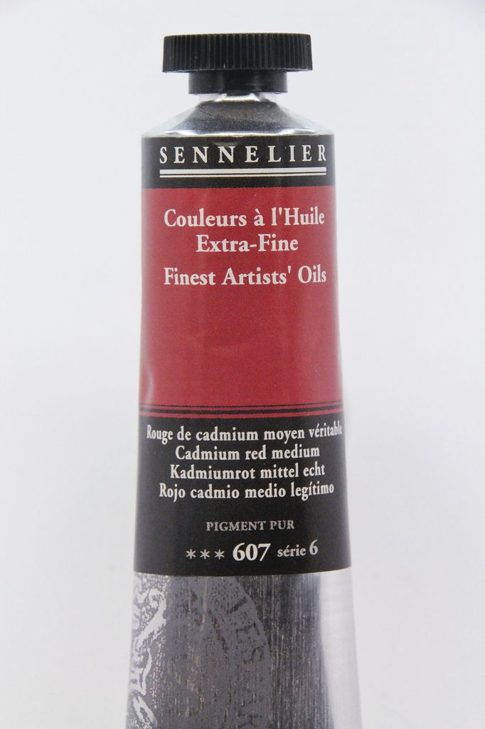 France Sennelier, Fine Artists' Oil Paint, Cadmium Red Meduim, 607, 40ml Tube, Series 6