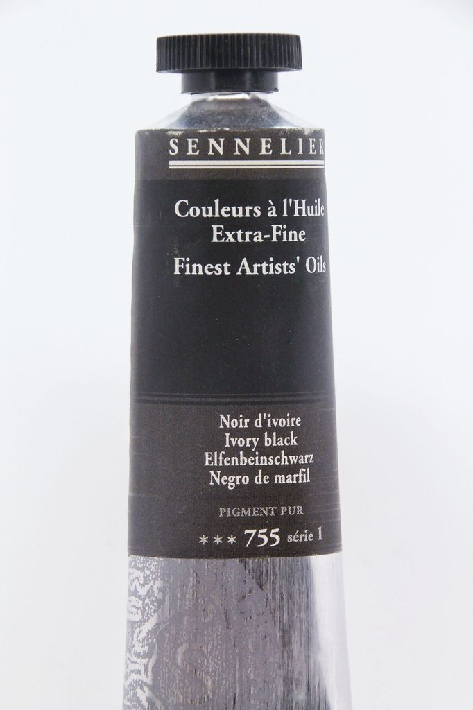 France Sennelier, Fine Artists' Oil Paint, Ivory Black, 755, 40ml Tube, Series 1