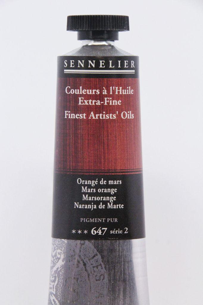 France Sennelier, Fine Artists' Oil Paint, Mars Orange, 647, 40ml Tube, Series 2