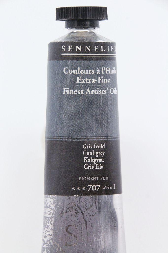 France Sennelier, Fine Artists' Oil Paint, Cool Grey, 707, 40ml Tube, Series 1