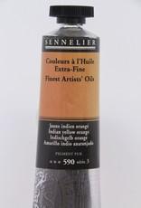 France Sennelier, Fine Artists' Oil Paint, Indian Yellow Orange, 590, 40ml Tube, Series 3