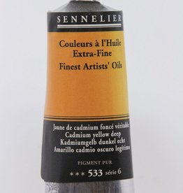 France Sennelier, Fine Artists' Oil Paint, Cadmium Yellow Deep, 533, 40ml Tube, Series 6