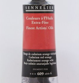 France Sennelier, Fine Artists' Oil Paint, Cadmium Red Orange, 609, 40ml Tube, Series 6