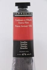 France Sennelier, Fine Artists' Oil Paint, Vermillion, 674, 40ml Tube, Series 4