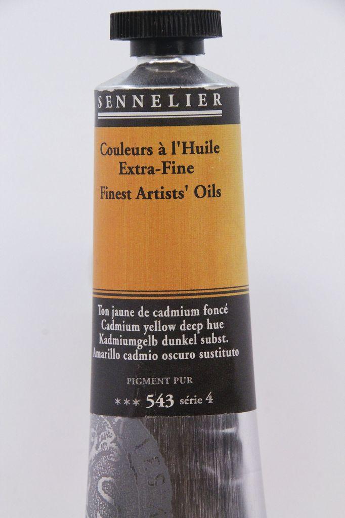 France Sennelier, Fine Artists' Oil Paint, Cadmium Yellow Deep Hue, 543, 40ml Tube, Series 4