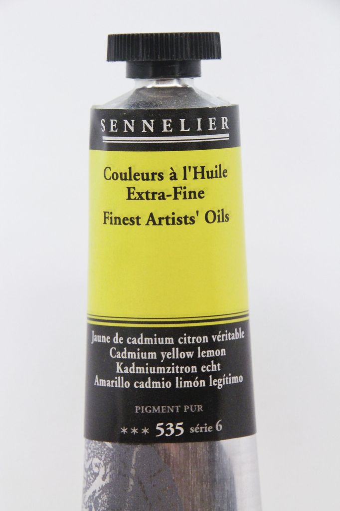 France Sennelier, Fine Artists' Oil Paint, Cadmium Yellow Lemon, 535, 40ml Tube, Series 6