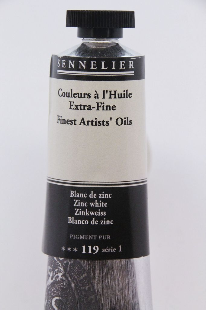 France Sennelier, Fine Artists' Oil Paint, Zinc White, 119, 40ml Tube, Series 1