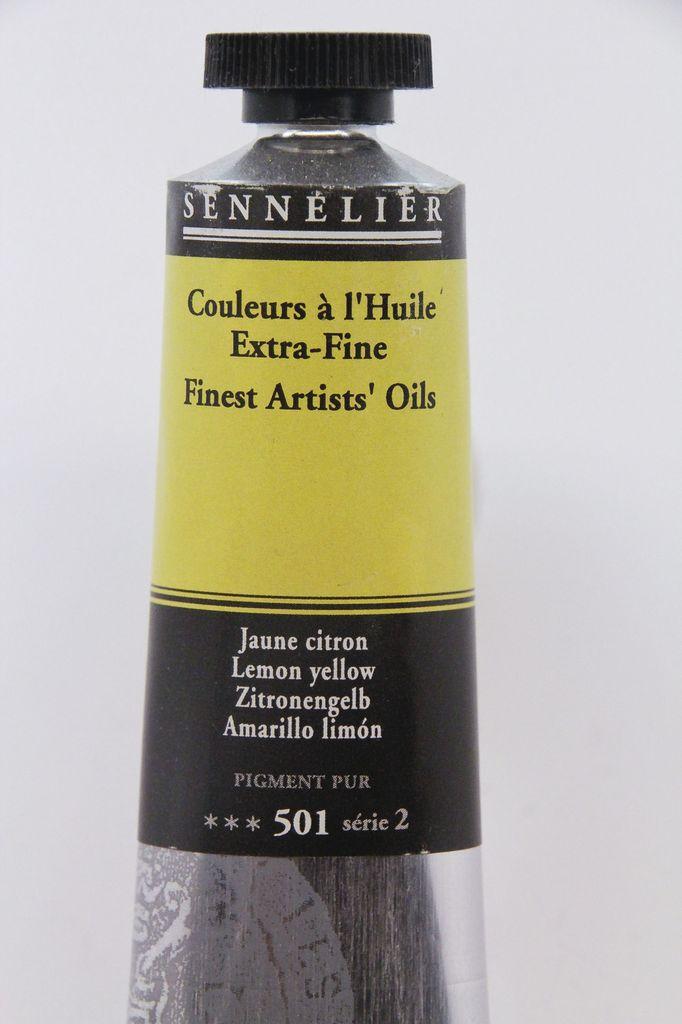 France Sennelier, Fine Artists' Oil Paint, Lemon Yellow, 501, 40ml Tube, Series 2