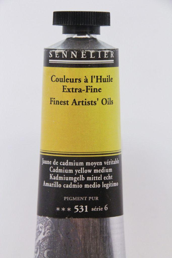 France Sennelier, Fine Artists' Oil Paint, Cadmium Yellow Medium, 531, 40ml Tube, Series 6