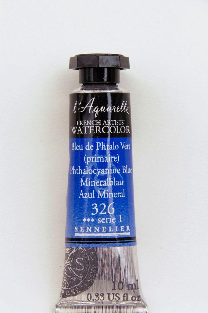 France Sennelier, Aquarelle Watercolor Paint, Phthalo Blue, 326,10ml Tube, Series 1