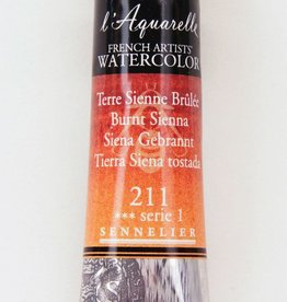 France Sennelier, Aquarelle Watercolor Paint, Burnt Sienna, 211,10ml Tube, Series 1